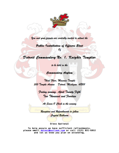 Detroit Commandery No. 1 KT Annual Installation of Officers @ Detroit Masonic Temple | Detroit | Michigan | United States