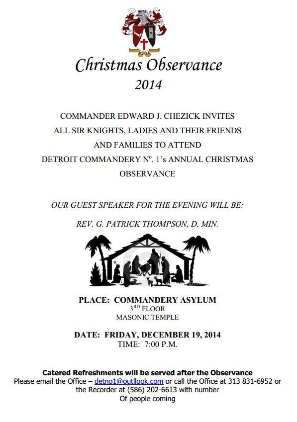 Christmas Observance, Detroit No.1 @ Detroit Masonic Temple, 3rd floor | Detroit | Michigan | United States