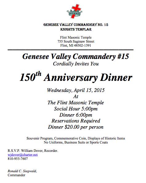 150th Anniversary Dinner - Genesee Valley Commandery #15 @ The Flint Masonic Temple   Flint   Michigan   United States