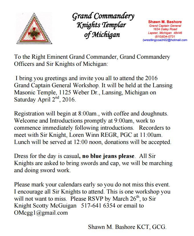 Grand Captain Generals Workshop @ Lansing Masonic Temple | Lansing | Michigan | United States