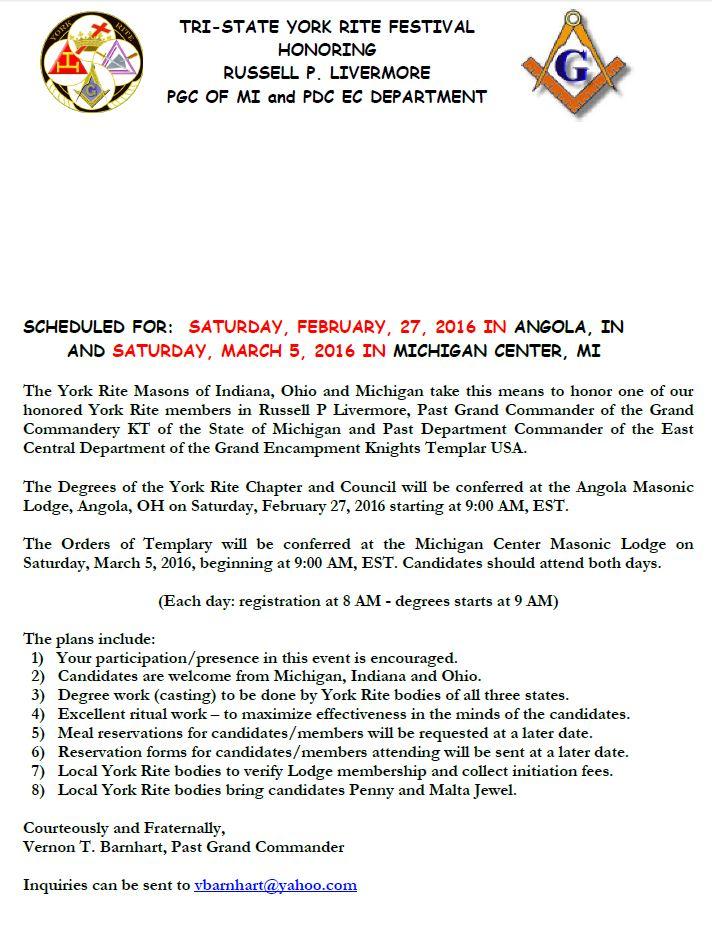 Tri-State York Rite Festival - Commandery Orders @ Michigan Center | Michigan | United States