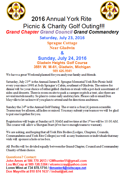 2016 Annual York Rite Picnic & Charity Golf Outing!!! @ Gladwin Heights Golf Course | Gladwin | Michigan | United States