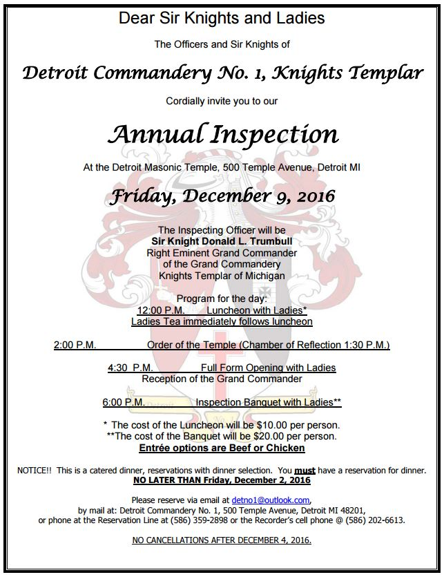Annual Inspection - Detroit No.1 @ Detroit Masonic Temple in the Commandery Asylum on the 3rd Floor   Detroit   Michigan   United States