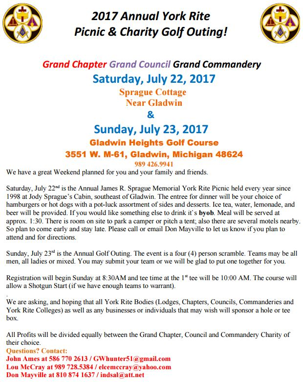 York Rite Picnic and Golf Outing @ Gladwin Heights Golf Course | Gladwin | Michigan | United States