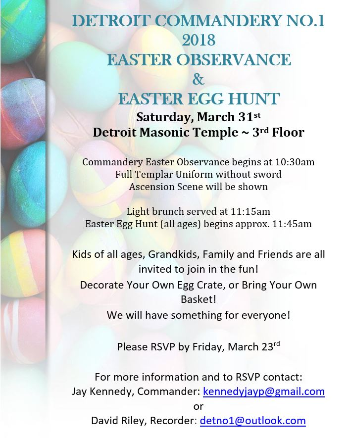 Easter Observance and Easter Egg Hunt @ Detroit Commandery No.1 | Detroit | Michigan | United States