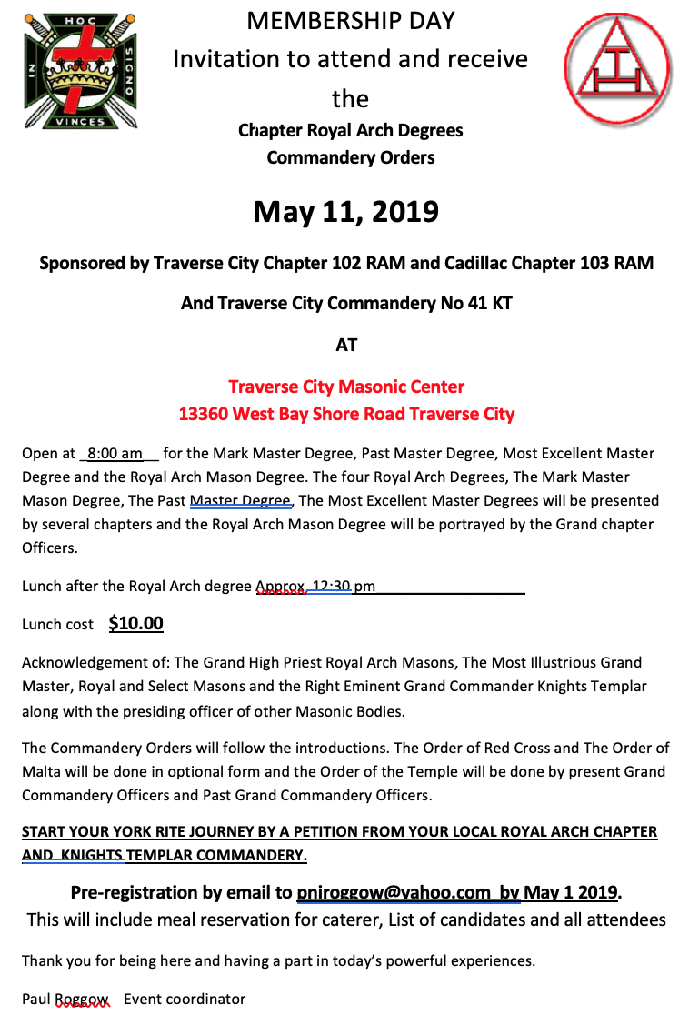 Membership day - Traverse City @ Traverse City Masonic Center